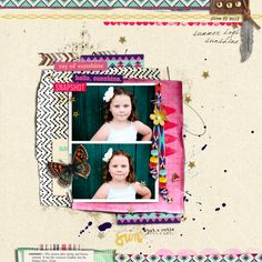 """Digital Scrapbook page created by jenn barrette featuring """"Aztec Summer"""" by Sahlin Studio"""