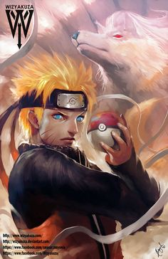 Ninetails - Pokemon, Naruto Uzumaki y Naruto Crossover - impresión Digital de 11 x 17
