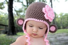 Crochet Monkey hat. My niece would look too precious in this!!