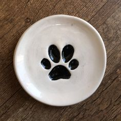 Black Dog paw print dish dog paw tea bag holder Dog paw ring