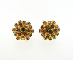 18K Gold Multi Gemstone Sputnik Dome Earrings Ring Set Featured in our upcoming auction on September 29!