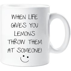 Sarcasm Mug When Life Gives You Lemons Throw Them at Someone Funny... ($10) ❤ liked on Polyvore featuring home, kitchen & dining, drinkware, drink & barware, home & living, mugs, silver, wizard of oz mug, wizard of oz cups and ceramic cup