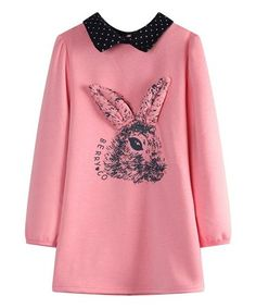 Another great find on #zulily! Pink Polka Dot-Accent Rabbit Tunic - Toddler & Girls #zulilyfinds