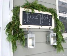 Chalkboard Noel sign on the back porch. Love it. #12daysofchristmas by svanderau