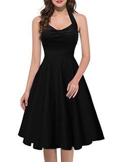 Miusol Damen Sommerkleid Neckholder Stretch Rockabilly Retro Cocktailkleid 1950er Party Kleid Schwarz Groesse 40/M Miusol http://www.amazon.de/dp/B011QYO1QW/ref=cm_sw_r_pi_dp_SzxCwb0QXJ6EV