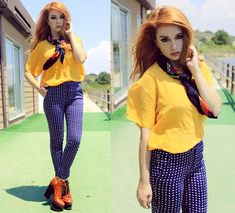 Maria Rondinella - Vintage Silky Shirt, Zara Pants, Vintage Foulard, Asos Shoes - YELLOW SUBMARINE