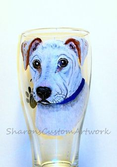 Pet Portrait  Dog Portrait  Custom Portrait  Hand Painted  Beer  Glass One Glass  Dog  Cat  Horse  Rabbit  Parrot  Guinea  Pig