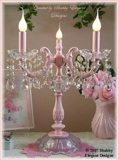 Love the old-timey flame lightbulbs. I also love pink and crystals Shabby Elegant Designs. Love the old-timey flame lightbulbs. I also love pink and crystals Estilo Shabby Chic, Shabby Chic Pink, Shabby Chic Cottage, Vintage Shabby Chic, Shabby Chic Homes, Shabby Chic Style, Vintage Pink, Shabby Chic Interiors, Shabby Chic Bedrooms
