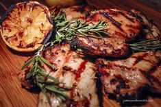 Rosemary and lemon are two flavors that seem to just naturally work well together, like a hand and a glove, or maybe Steve Lawrence & Eydie Gorme. The brightness of the citrus amplifies Bbq Chicken, Chicken Recipes, Lemon Rosemary Chicken, Shish Kebab, European Cuisine, Grilled Chicken, Marinated Chicken, Casserole Dishes, Eydie Gorme