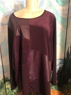 5102697093c Details about Ava   Viv Womens Plus 3X Top Knit Tunic Long Sleeve Purple T- Shirt A229