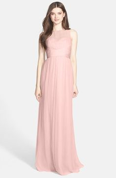 Free shipping and returns on Amsale Illusion Yoke Crinkled Silk Chiffon Gown at Nordstrom.com. A silk-chiffon gown cast in a demure hue features a sheer yoke, pleat-wrapped bodice and long flowy skirt. On the reverse, a delicate tie closing the open back completes the romantic style.