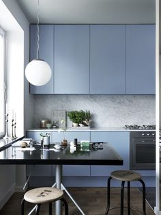 Soft neutral blue cabinets with grey-heavy stone // #kitchen // 28 Examples Of Minimal Interior Design #28 - UltraLinx