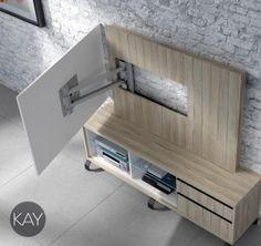 En este mueble TV podemos ver el panel para la televisión completamente abierto a 90 grados