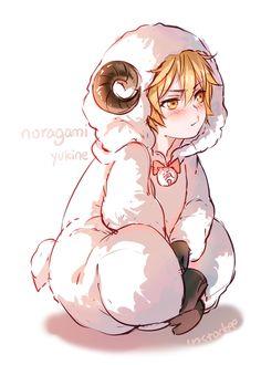 Anime boy, , anime animal, , noragami, , Yukine, , sheep, , kawaii
