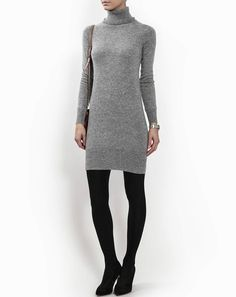 Our cashmere turtleneck dress, soft and simple, is the quintessential everyday go-to. Great paired with leggings or slim fit jeans, what makes this item stand out is the fine cashmere we've used. Its linear style and fine details add to its charm, making it a classic item you can throw on in any number of occasions.