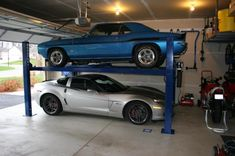Garage Forum - Will a 4 post lift work height? - I have 114 inches of height is this enough to a have 4 post lift? Garage Loft, Garage Car Lift, Garage Shop, Garage House, Garage Workshop, Dream Garage, Garage Tools, 4 Post Car Lift, Four Post Lift