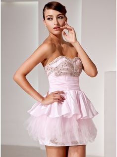 A-Line Princess Sweetheart Short Mini Taffeta Cocktail Dress With Beading  Cascading Ruffles 24a6cdc14