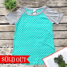 Teal Polka & Grey Baseball Tee: click to enlarge