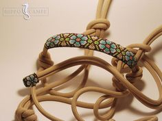 Unique and super fancy 6mm rope halter with a hand-woven peyote beaded noseband…