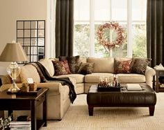 Love the layout.family room inspiration reds and browns Cozy Living Rooms, New Living Room, My New Room, Home And Living, Living Room Furniture, Living Room Decor, Cozy Family Rooms, Interior Design Living Room, Living Room Designs