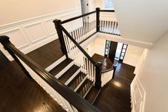 how many inches between panel molding and chair rail - Google Search Wood Stair Treads, Hardwood Stairs, Wooden Stairs, Flooring Cost, Wooden Flooring, Stairs Architecture, Architecture Details, Installing Wainscoting, Dining Room Wainscoting