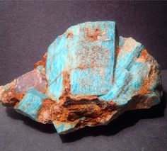 Amazonite Etched Crystal Cluster with Goethite and Smoky Quartz--Lake George, CO