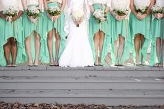 Southern Mint Wedding with high low hem dresses for something a little different! Mint Gold Weddings, Wedding Mint Green, Summer Wedding, Dream Wedding, Bridesmaids And Groomsmen, Wedding Bridesmaids, Wedding Trends, Wedding Styles, Wedding Ideas