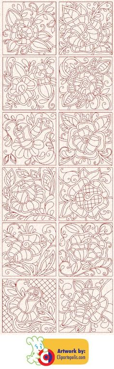 Victorian Redwork Roses $