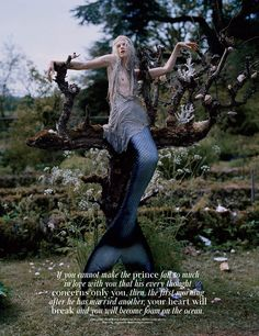 """A mermaid in sorrow is captured by the creative storyteller Tim Walker in his spread """"Far, far from land"""" featured in the December 2013 issue of W Magazine starring Kristen McMenamy."""