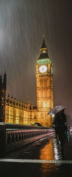 Rain on London, England, UK