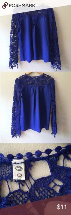 Royal blue lace blouse! Royal blue blouse with lace sleeves! Super cute and easy to dress up or down! Feel free to ask me any questions :) Tops Blouses