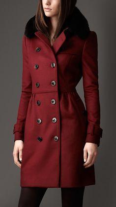 Long Fur Collar Trench Coat in Deep Claret!