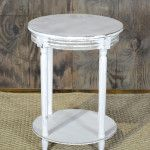 Vintage distressed white side table