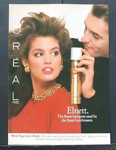 VINTAGE 1980s HAIRDRESSING ADVERT L'Oreal Elnett Satin Hair Spray