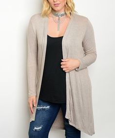 Another great find on #zulily! Oatmeal Open Cardigan - Plus #zulilyfinds