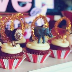 The Greatest Showman themed party deserves the greatest circus cupcake toppers ...DIY is the best!