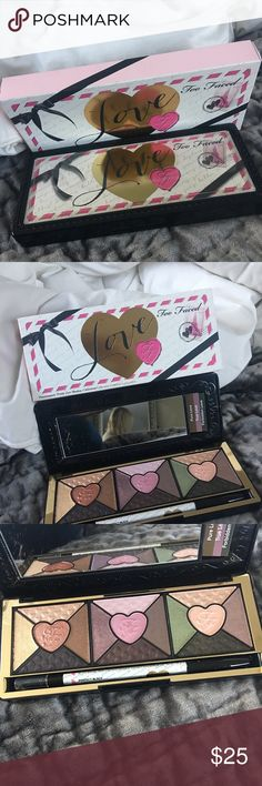 Too Faces Eye Shadow pallet Too Faced Love eye shadow pallet! This is by far one of my favorite pallets! Comes with a waterproof black eyeliner. Too Faced Makeup Eyeshadow