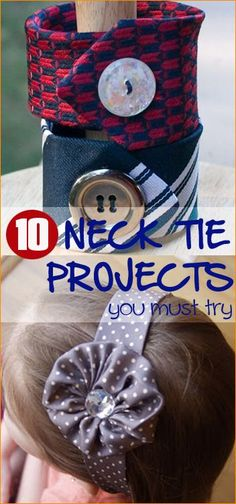 10 Must Try Tie Projects.  Get creative with these awesome ideas of turning neck ties into bracelets, headbands, bags, quilts and more.