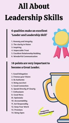 All about leadership skills. 6 qualities make an excellent leader and leadership skill such as honesty and integrity, inspiring, clarity in vision, etc. Effective Leadership Skills, Leadership Traits, Leadership Activities, Leadership Coaching, Educational Leadership, Leadership Development, Leadership Quotes, Leader Quotes, Examples Of Leadership