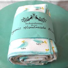 Organic baby blanket,  blue bird, 100% certified organic cotton flannel, swaddle blanket / receiving blanket for baby by luckypalmtree