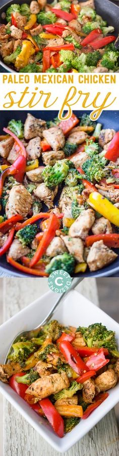 One Pot Paleo Mexican Chicken Stir Fry- this delicious naturally gluten free meal takes under 20 minutes start to finish- and is paleo, whole 30, and take shape for life compliant!