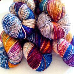 One of our new colourways destined for #wonderwool #yarn #wool #handdyed #artisan #handmade #knit #crochet #weave #colour #yarngarden #skein