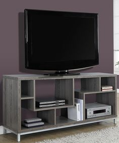 Dark Taupe Reclaimed-Look TV Console - Monarch Specialty your living space with this asymmetrical work of art. This multi-purpose tv stand / room divider is finished in a rich dark taupe reclaimed wood-look and is supported by stylish Tv Stand Room Divider, 60 Inch Tvs, Contemporary Tv Stands, Contemporary Furniture, 60 Tv Stand, Cool Tv Stands, Flat Panel Tv, All Modern, Living Room Furniture