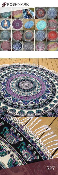 Beautiful Tapestry, 6 Feet Around, New Beautiful 6 Feet Around Tapestry, 100% Cotton, Handmade with Fringe Detail, New, Vibrant Purple, Blue, Green & Black. Accessories