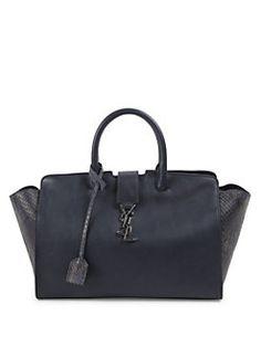 Saint Laurent - Small Cabas Monogrom Leather & Python Satchel