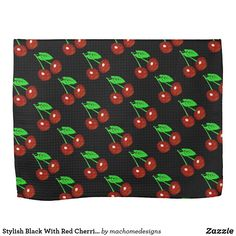 Look for matching cherry pattern kitchen and dining accessories in the rest of this shop. Size: Kitchen Towel x Color: black/red. Cherry Kitchen, Red Kitchen, Kitchen Dining, Kitchen Decor, Cherry Fruit, Wedding Color Schemes, Dish Towels, Kitchen Towels, Monogram
