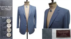 Carolina blue cashmere sport coat with patch pockets and white mother of pearl buttons