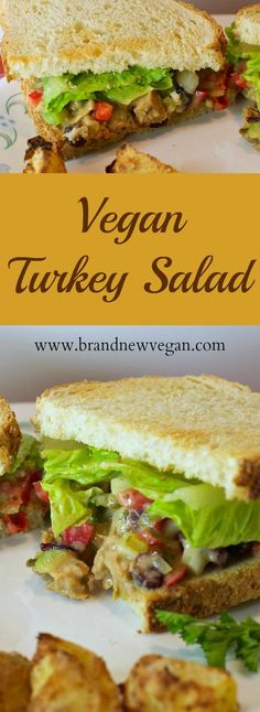 This Vegan Turkey Salad is like Thanksgiving on a Sandwich! Seasoned Soy Curls, freshly chopped veggies, and a White Bean Mayo to tie it all together. Yum!