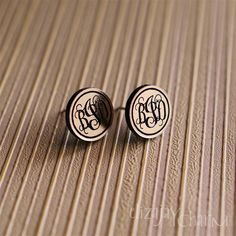 vine monogram itty bitty post earrings. $12.00, via Etsy.