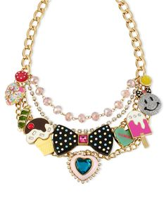 Betsey Johnson Necklace, Gold-Tone Glass Acrylic Multi-Charm Frontal Necklace - All Fashion Jewelry - Jewelry & Watches - Macy's
